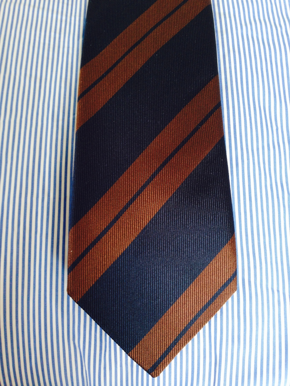 Dress stripes demonstrating versatility, working equally as well with a repp double stripe tie.