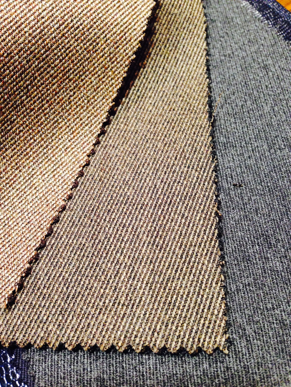 Whipcord in brownish shades and beefy cavalry twill in an ideal gray.