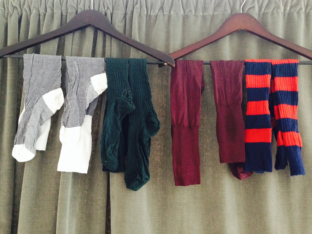 From left: cotton mesh, lightweight wool, silk, and heavy merino.