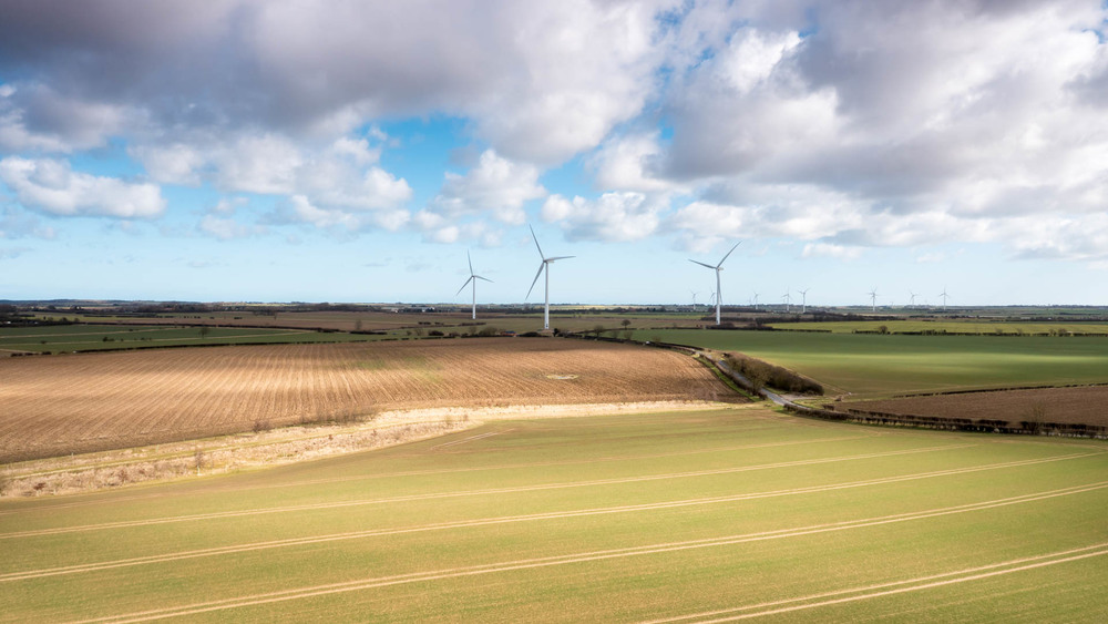 Aerial Photo of Wind Turbines near Hull