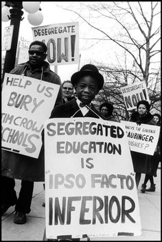 A boy protests segregated education, Bob Adelman, 1966