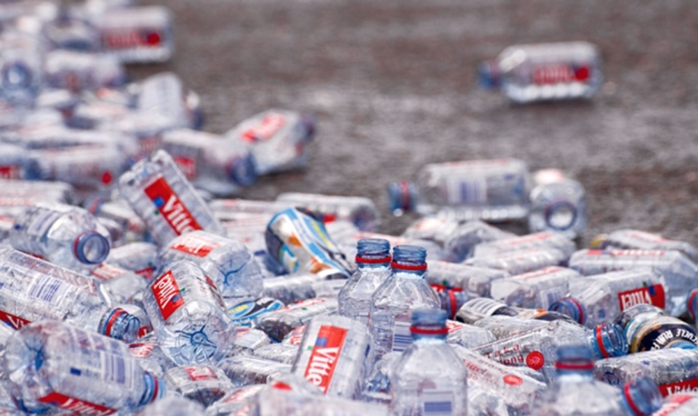 Discarded mineral water bottles after the London Marathon. Photograph: Tracy Gunn/Alamy