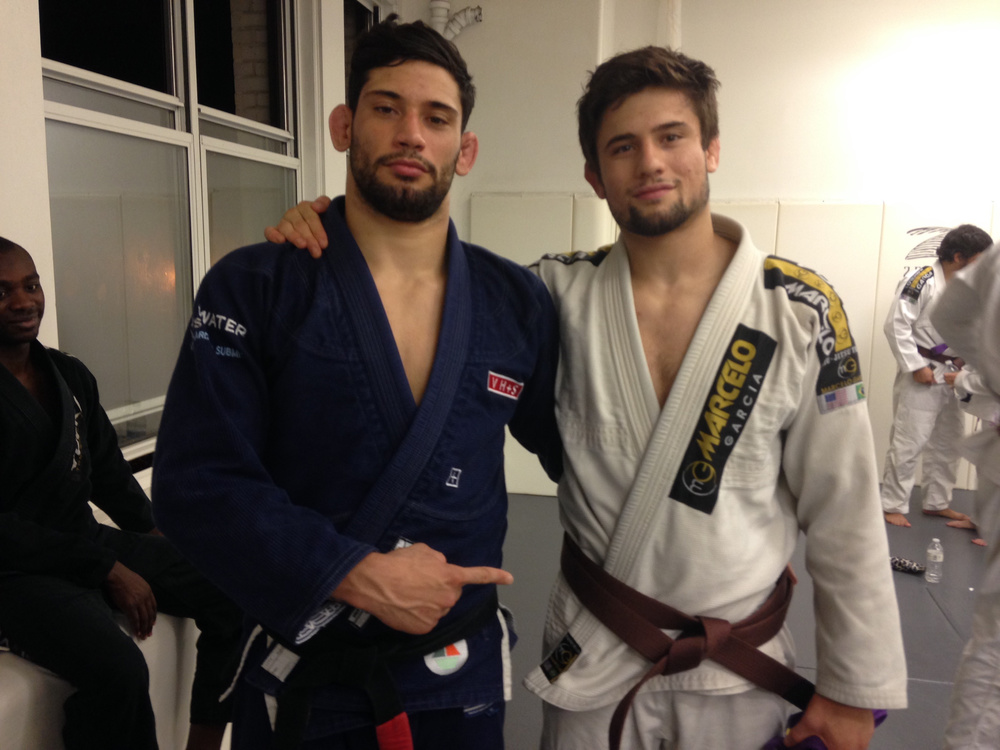 Marc Berman (Right) with good friend, roommate, Marcelo black belt and absolute monster on the mats Matheus Daniz