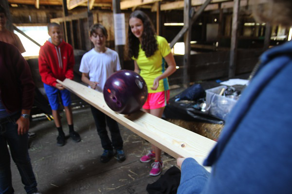 testing the bowling ball phase of our Rube Goldberg machine
