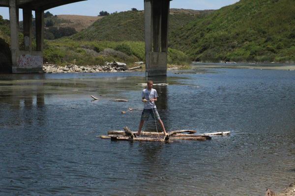 A raft built on beach day