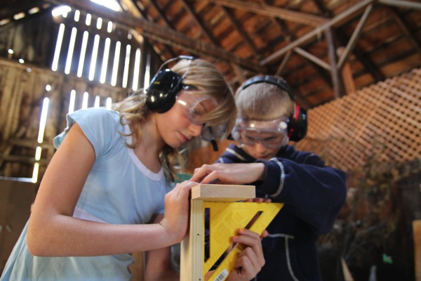 Sophia and Blake make sure their Chop Saw Block is square
