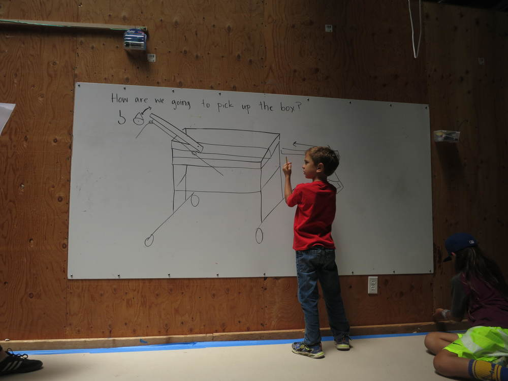 Brody helps the crane team work on a design for the container lifting mechanism.