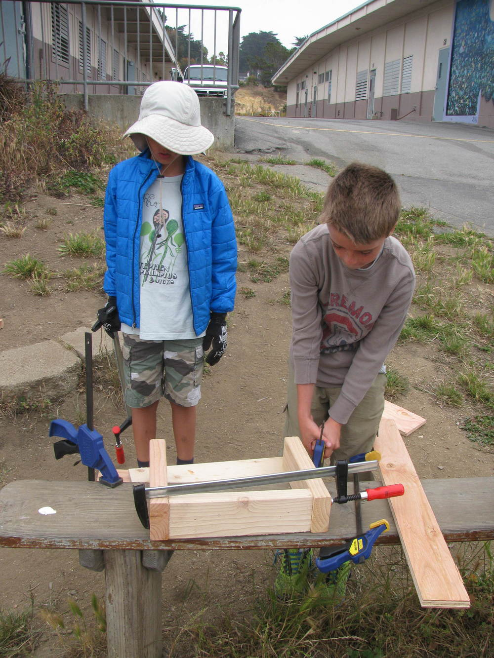 Lee and Jacob work on their clamping skills.