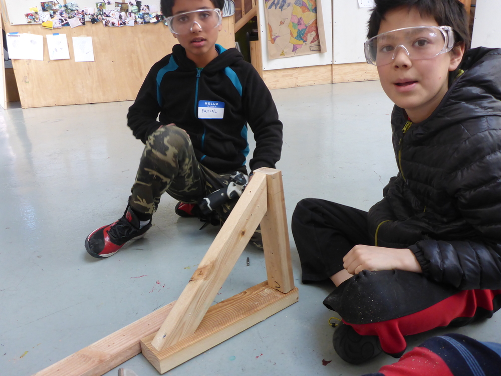 Pascal and Ayden worked together in drill training to make an arrow!