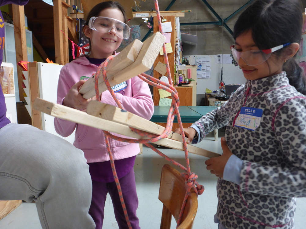 Olivia and Sophia became veritable pros at tying knots using long sticks!