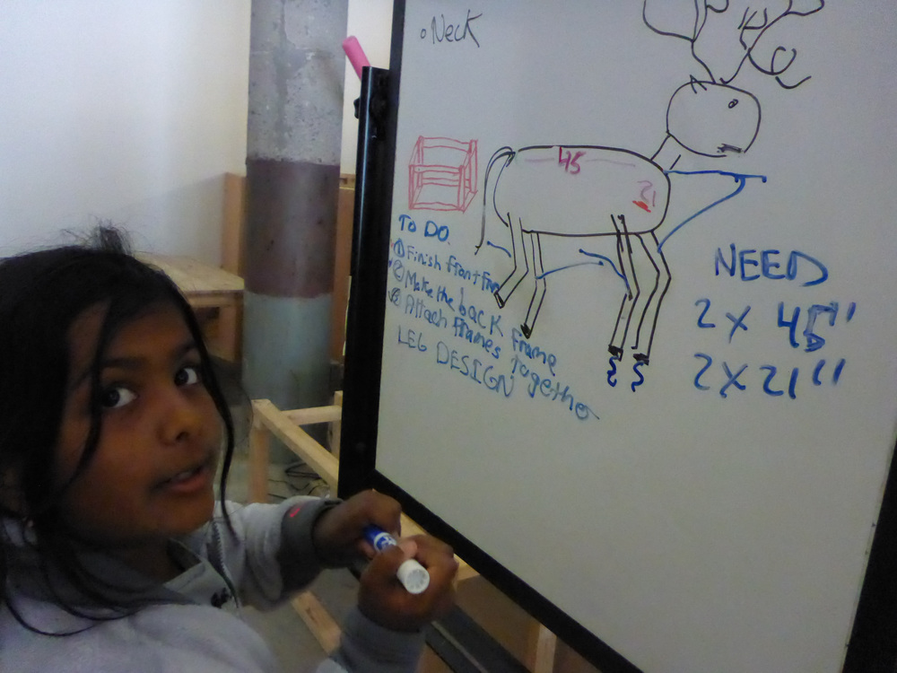 Anaya adds strings to the Deer design to show how we might be able to make joints that move and allow the deer to walk.