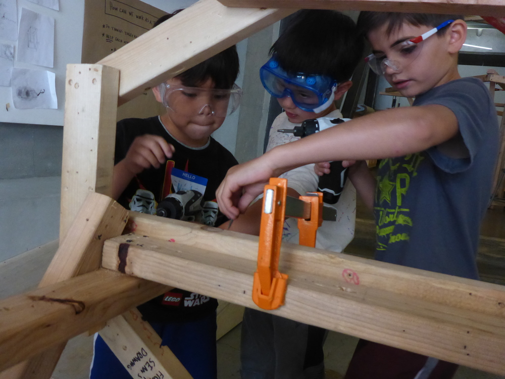 From the very beginning of the morning build session, Tinkerers were working together to complete pretty complicated tasks that couldn't be done with just one person: such as making this tricky connection. Noah and Jonas and Aaron working together!