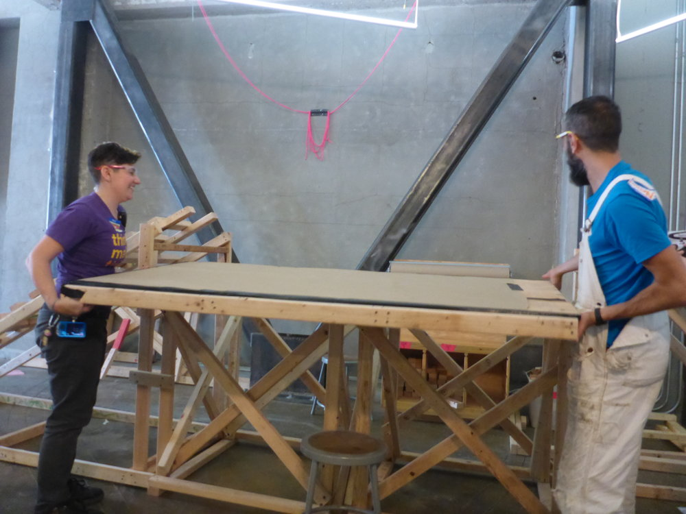 With a little tinkering, we discovered that the slide could become the bridge platform instead!