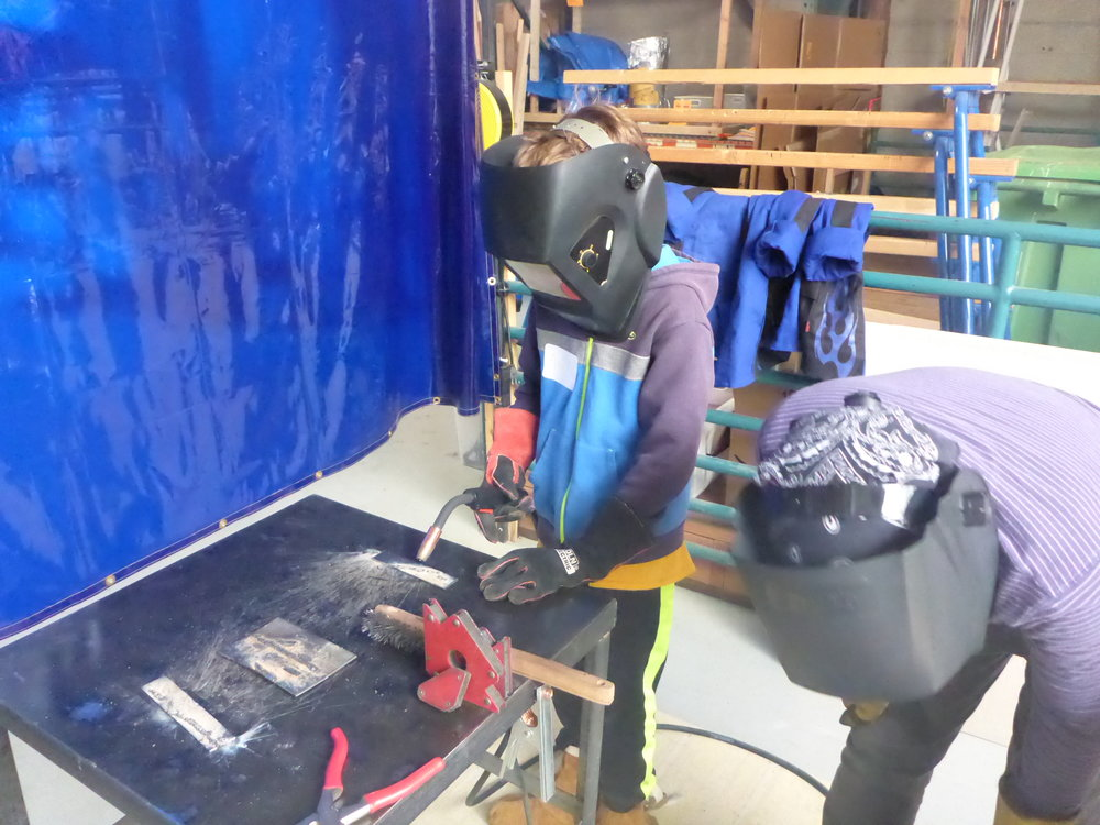 Axel practices his first welding beads!
