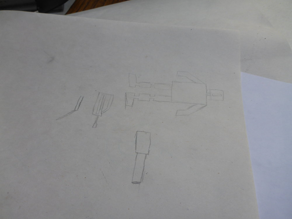 Jacob's design for a little robot from a video game he plays.