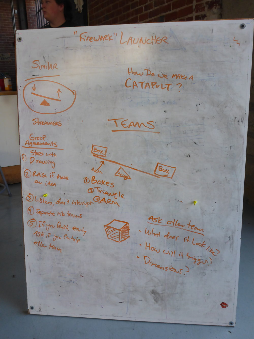 The launching machine had a particularly long design session, which also included brainstorming ways to effectively talk to one another during the session, ideas for what the machine might look like and also do, as well as a list of things we needed to ask the other team.
