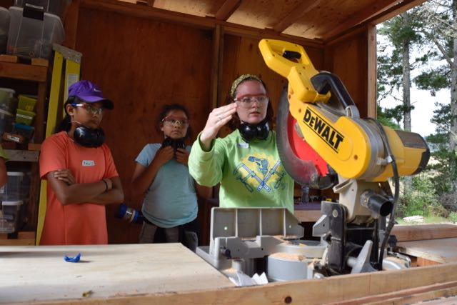 Kaitlyn bravely takes on chopsaw training, and outlines the blood bubble, where fleshy human hands are not allowed.