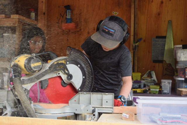 Grant makes full use of the miter capabilities of our chop saw.
