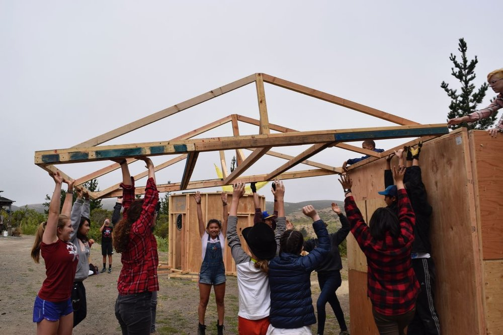 ALL HANDS ON DECK!! Piki's roof is going up!