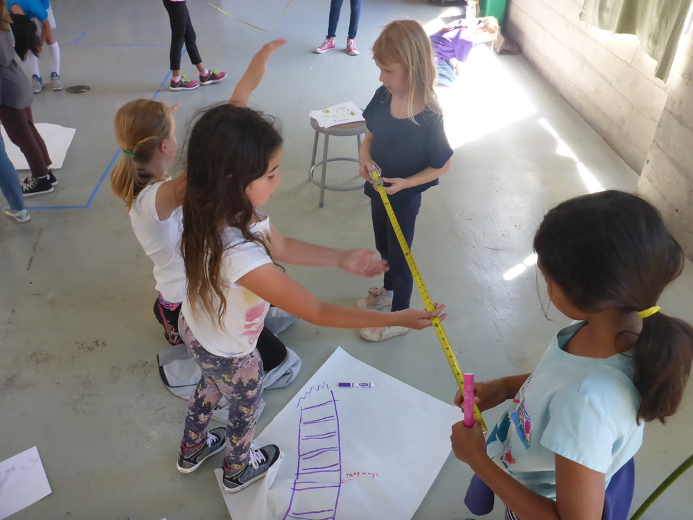 Jana, Sylvie and Lia use a measuring tape to help visualize the dimensions for their croc-o-slide.