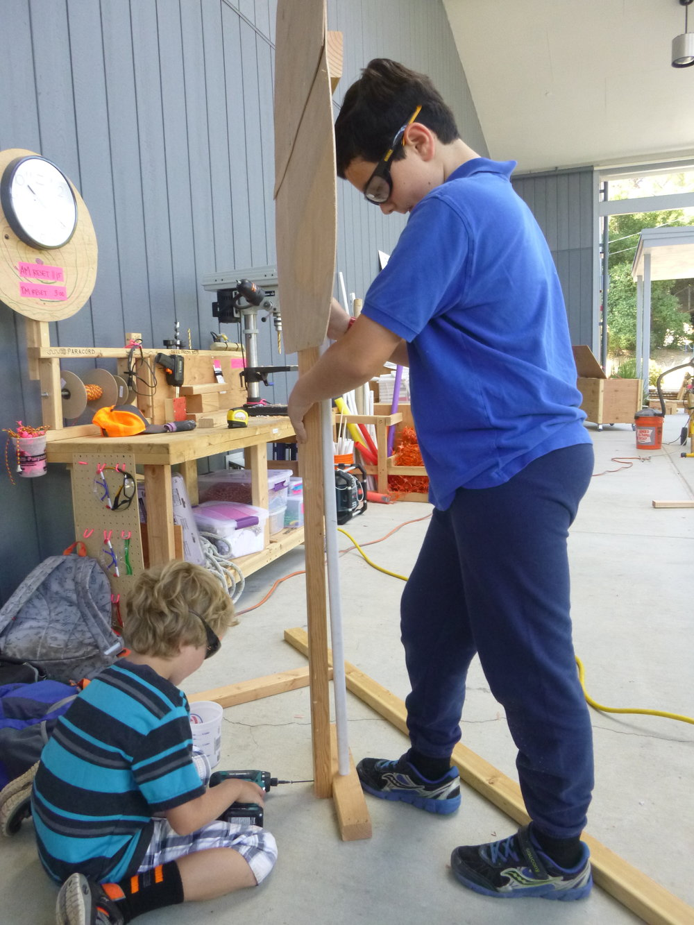 Theo and Peter build a free standing tree that will be planted in the obstacle forest.