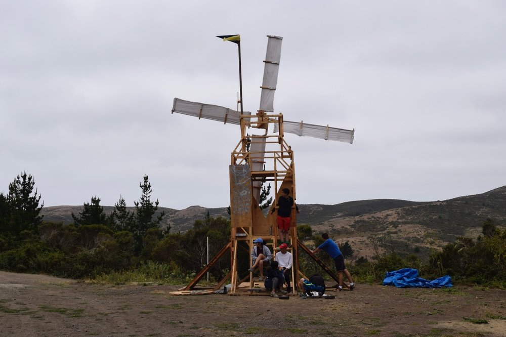 Panda has set up camp on the windmill, and begins work on their boat-shaped cart body.