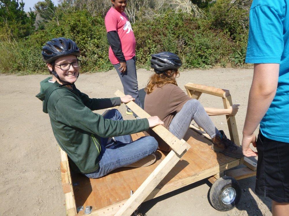 Frannie steers while Reid brakes.