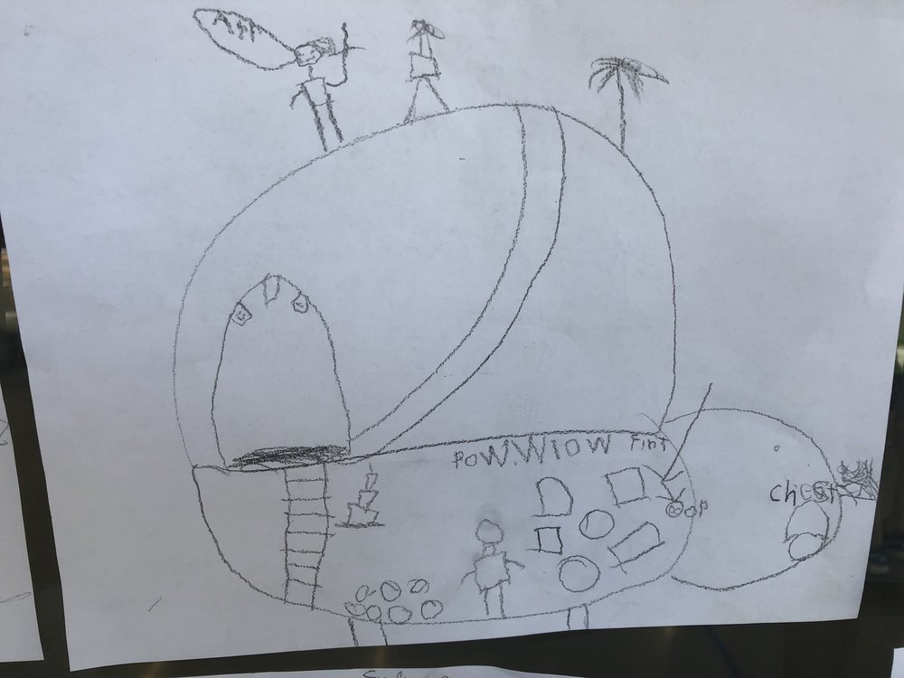 A student's design for a turtle-shaped pirate hideaway.