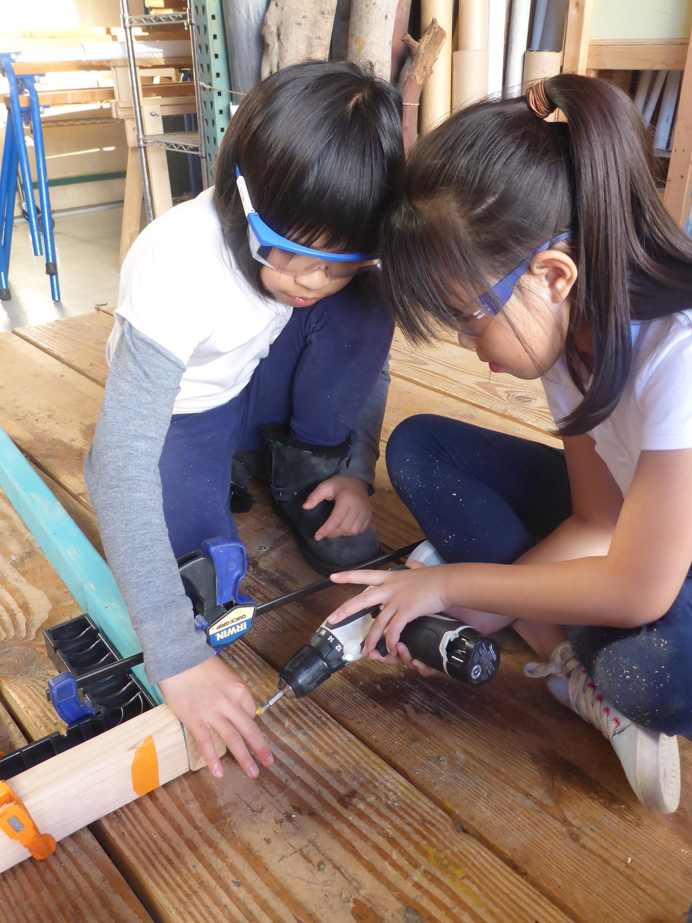 Amanda and Annie worked on constructing the frame for the second rocket. Such amazing teamwork!