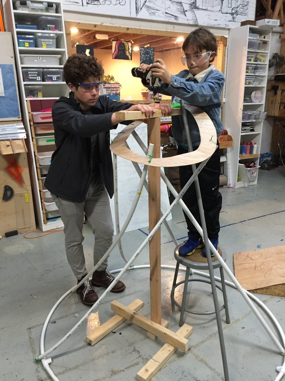 Zane and Owen get the Volcano frame ready for fabric.