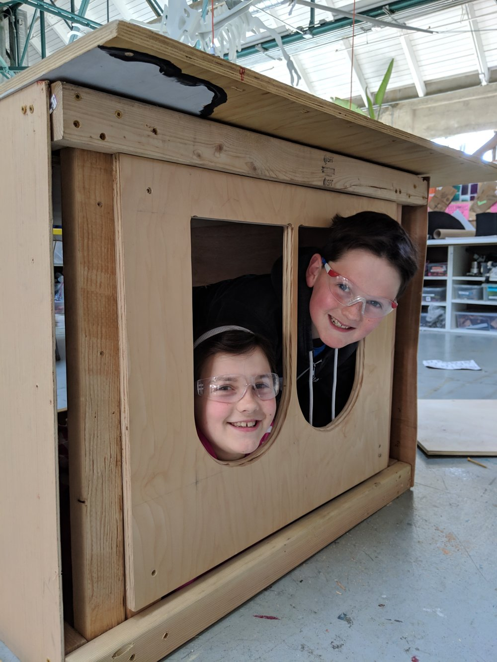 Elliot and Lily had the giggles as they tested out the windows of the upside down train car. :)