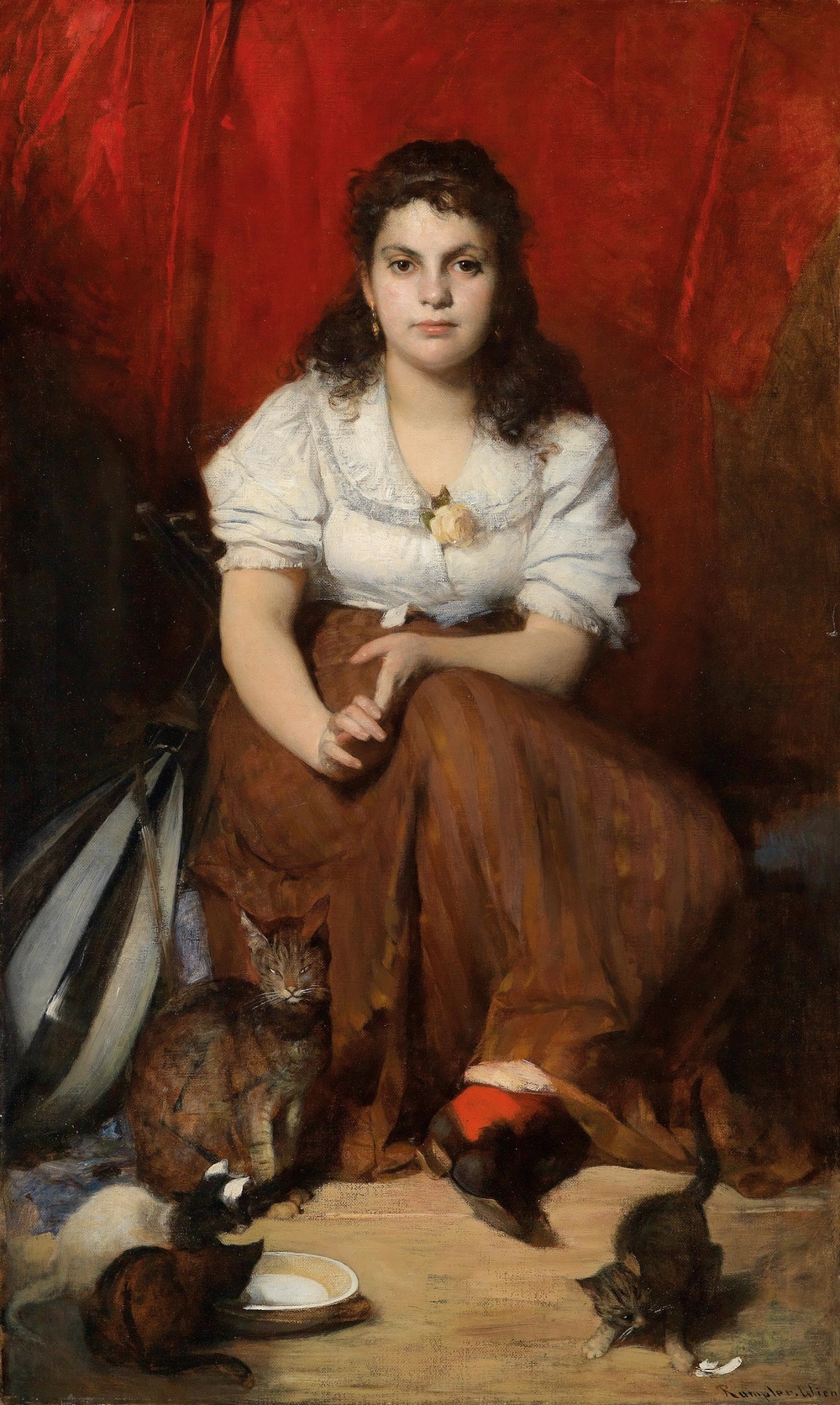 "Franz Rumpler (Tachov 1848–1922 Klosterneuburg)  Girl with Cats Oil on Canvas 127 x 76.5 cm, framed Signed, inscribed ""Rumpler Wien"""