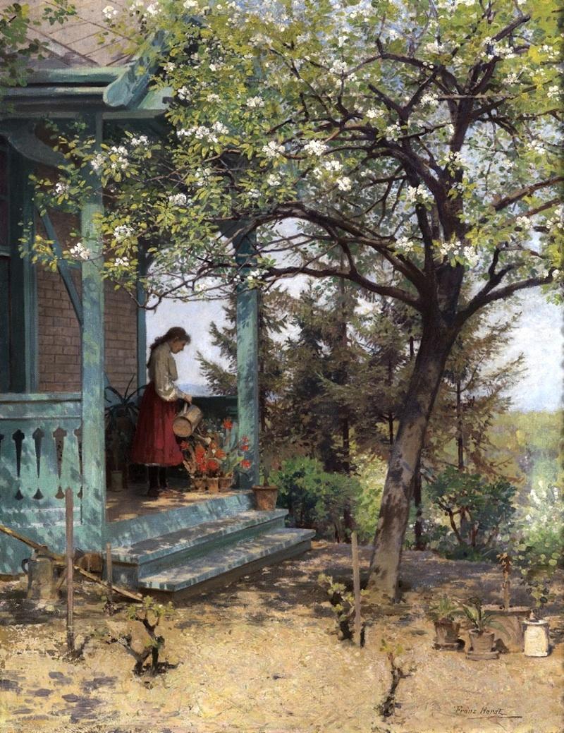 "Franz Horst (Vienna 1862 - 1950 Klosterneuburg) Her Garden Oil on Canvas approx.. 70 x 54cm, framed Signed lower left;on the reverse an old label ""Künstlerhaus 1909"""