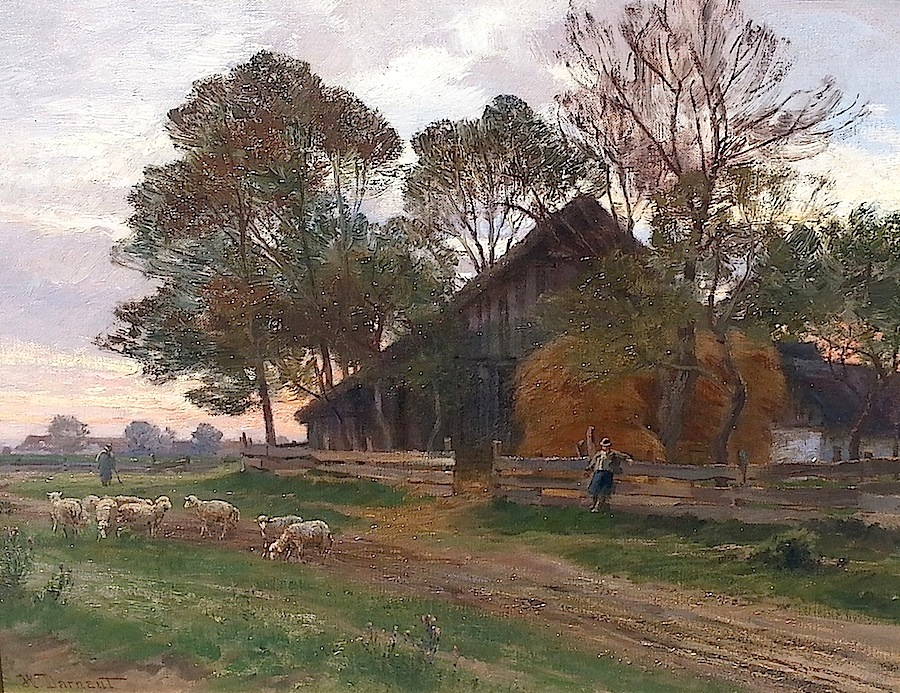 "Hugo Darnaut (Dessau 1850–1937 Merkenstein)  Afternoon in Plankenberg Oil on Canvas on Board approx. 42 x 54 cm, framed Signed lower left ""H. Darnaut""; old label on the reverse Provenance: Private Collection, USA"