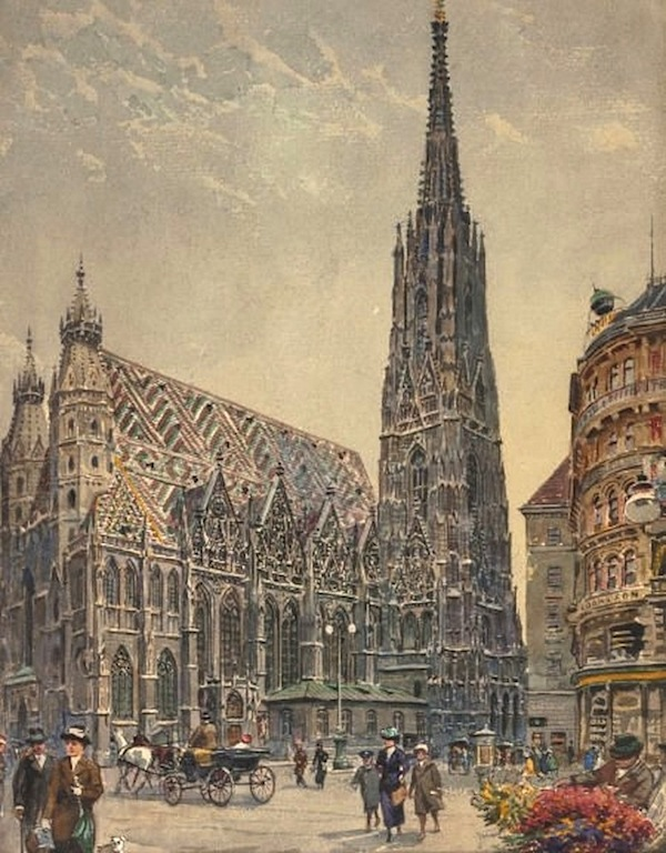 "Ernst Graner (Werdau, Saxony 1865 - 1943 Vienna) St. Stephen's Cathedral in Vienna Watercolor 25 x 18cm, framed Signed and dated lower left ""E. Graner 24"""