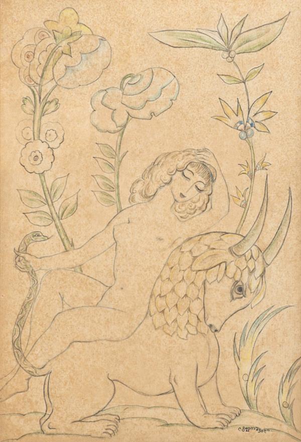 Lado Gudiashvili (Tiflis 1896 - 1980 Tiflis) Frau mit Fabelwesen Mischtechnik 29 × 20,5 cm, gerahmt rechts unten signiert Provenienz: Privatbesitz Deutschland