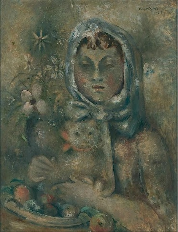 "Otto Theodor W. Stein  (Saaz 1877 - 1958 Friedland)  Girl with Cat  Oil on Board  48 x 37 cm, framed  Signed and dated upper right ""1919"""