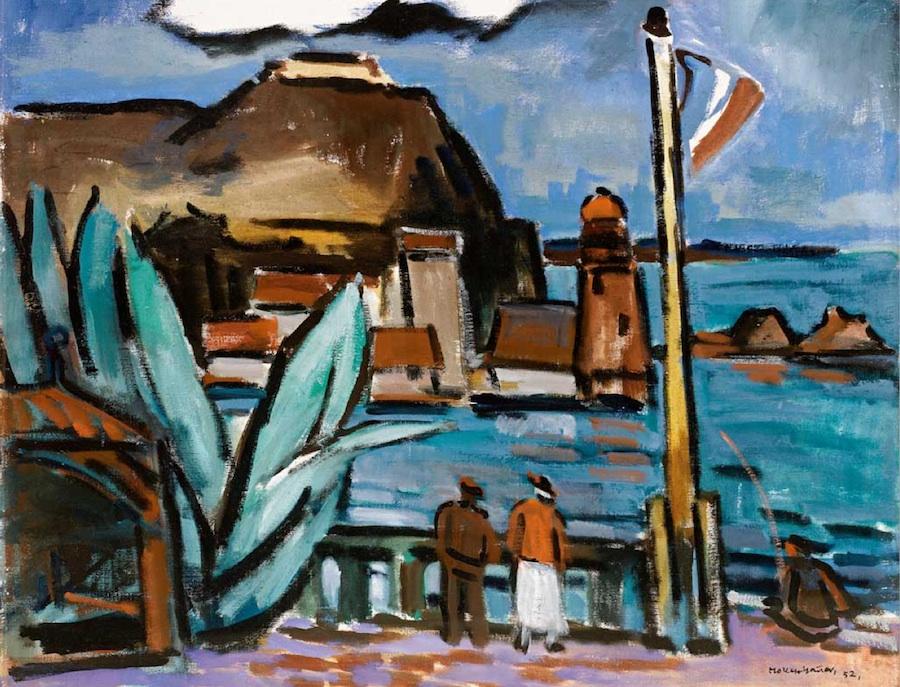 Ernst Mollenhauer  (1892 Tapiau / Ostpreußen - 1963 Düsseldorf)  Am Hafen in Collioure  Öl auf Leinwand  ca. 66 x 80cm, gerahmt  rechts unten signiert und datiert 52