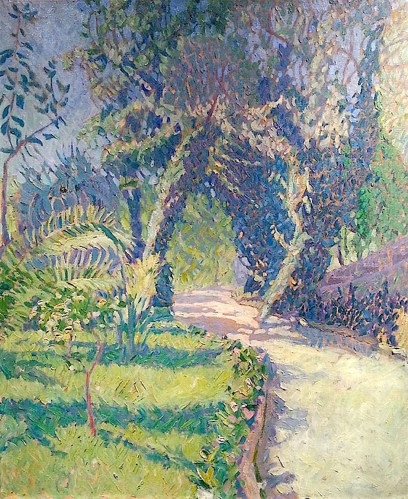 "Hans Strohbach (1891 - 1949 Frankfurt/Main) Gartenweg auf Capri Öl auf Leinwand ca. 60 x 50cm, gerahmt rückseitig Hinweis ""Kunstausstellung Berlin 1920"""