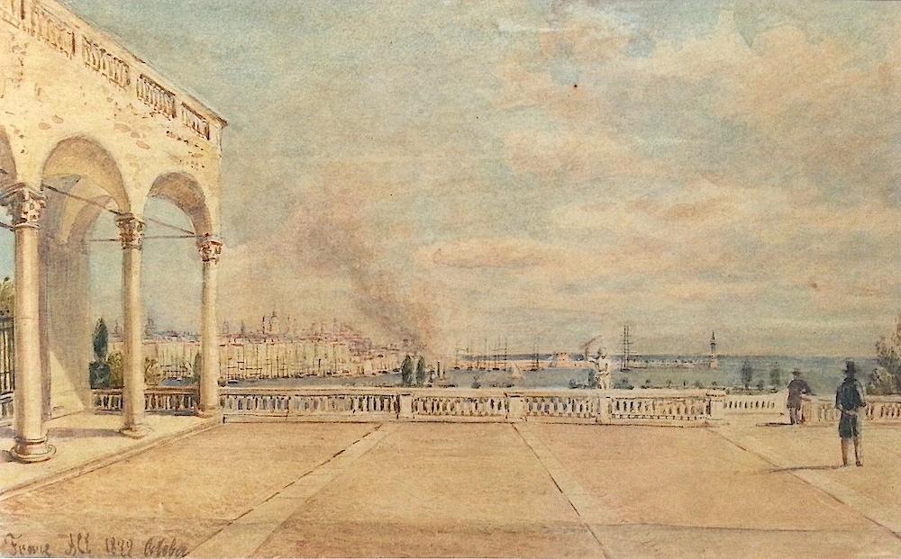 Franz Alt (Vienna 1821 - 1914 Vienna) Venitian Scene Watercolor approx. 15 x 22cm, framed Signed lower left