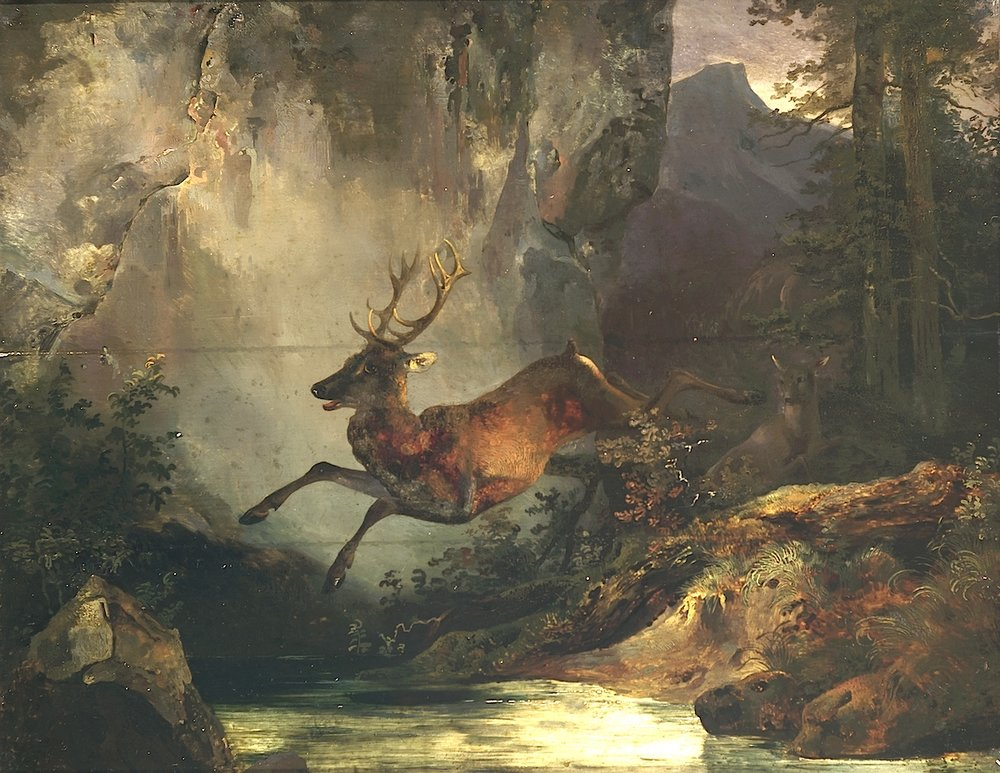 Friedrich Gauermann (Miesenbach 1807 - 1862 Vienna) att. Jumping Deer (approx. 1832) Oil on Wood 31 cm x 39,5 cm, framed Provenance: Private Collection, Germany