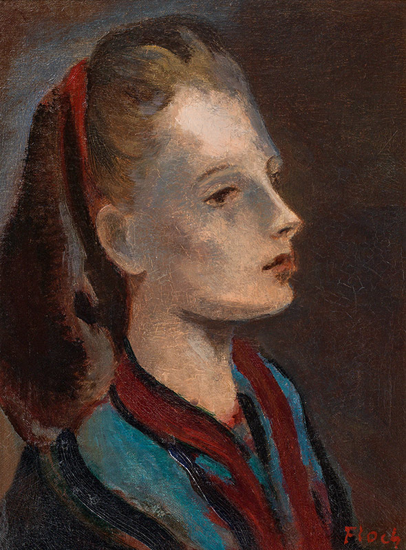 "Josef Floch (Vienna 1894 - 1977 New York) Young Woman with Red Hairband (between 1942-1945) Oil on Canvas on Board 30,5 × 22,5 cm, framed Signed lower right ""Floch"" Catalogue Raisonné Nr. 342 A (Addendum) by Karl Pallauf Provenance: Private Collection, USA"