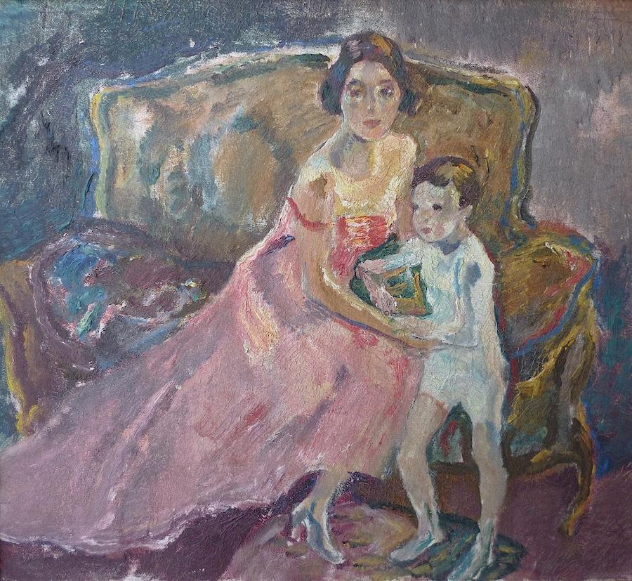 Leo Putz (Meran 1869 - 1940 Meran) Die Familie des Künstlers Öl auf Leinwand 50 x 55 cm Originalzustand und -rahmen Vergleichsbild zu #1953 im Werksverzeichnis
