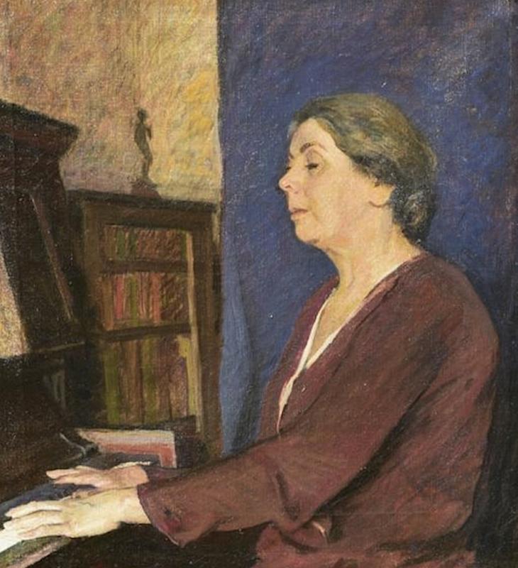 Broncia Koller-Pinell (1863 Sanok, Galizien 1863 -1934 Wien) Die Mutter der Künstlerin Öl auf Leinwand ca. 70 x 60cm, Originalrahmen rückseitig Bezeichnung und Etikett