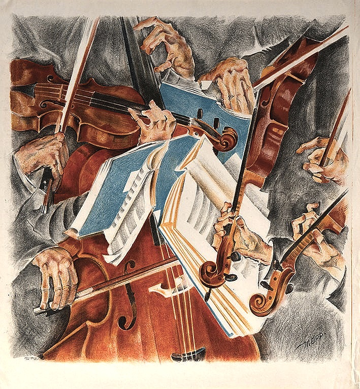 "Max Oppenheimer  (Vienna 1885 - 1954 New York)  The Rosé-Quartett (approx. 1920)  Lithograph  approx. 70 x 78cm  Signed and numbered lower right ""MOPP"""