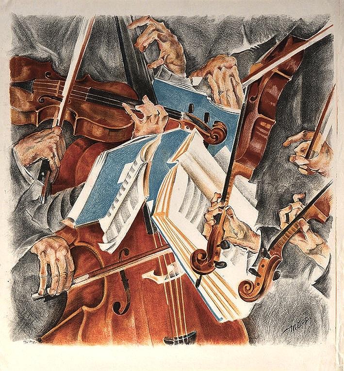 """Max Oppenheimer  (Wien 1885 - 1954 New York)  Das Rosé-Quartett (ca. 1920)  Farblithografie  ca. 70 x 78cm  rechts unten signiert """"MOPP"""", nummeriert"""