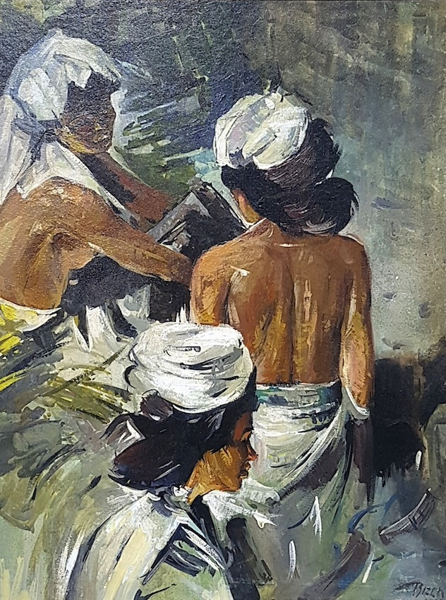 "Emil Rizek (Vienna 1901 - 1988 Vienna) Indonesian Girls (around 1930) Oil on Board 49 x 37cm framed Signed lower right ""Rizek"""