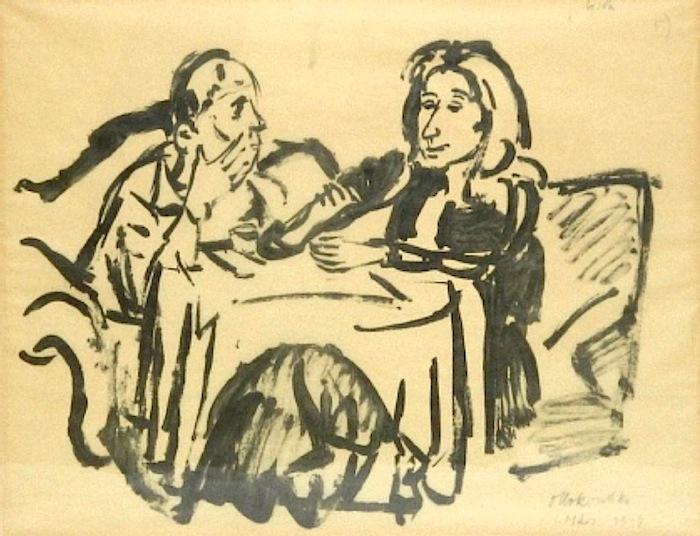 Oskar Kokoschka  (Pöchlarn 1886 - 1980 Montreux)  Bei Tisch (Alma Mahler), 1919  30 x 40 cm.  rechts unten signiert und datiert 1. März 1919