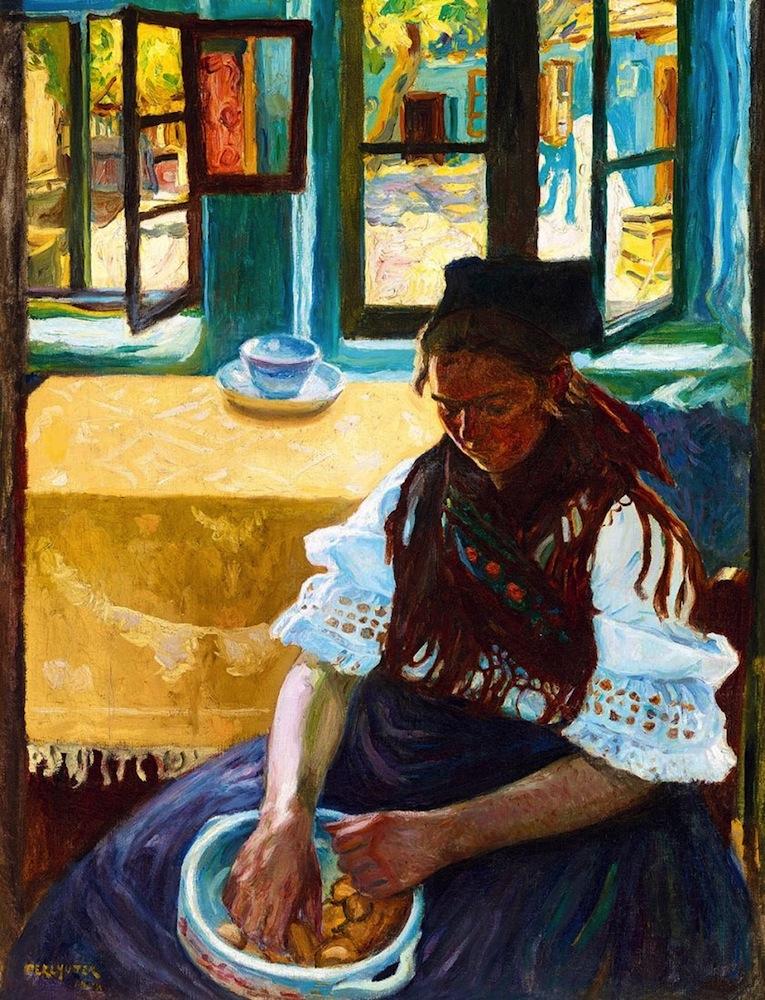 """Izsak Perlmutter  (Pest 1866 - 1932 Budapest)  Beim Fenster / Ungarische Folklore (1908)  Öl auf Karton  91x69 cm, gerahmt  unten links signiert und datiert """"Perlmutter 1908"""""""