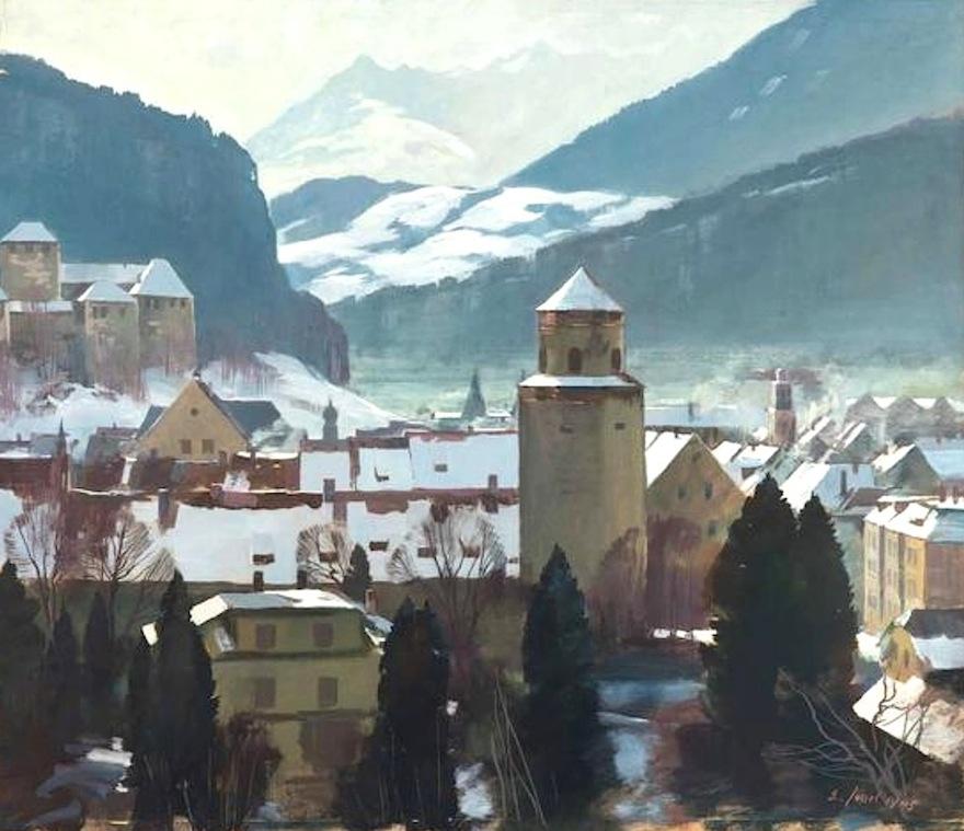 Eugen Jussel (Feldkirch 1912 - 1997 Lustenau) Feldkirch im Winter (1945) Mischtechnik auf Papier ca.70 x 80cm, gerahmt rechts unten signiert und datiert